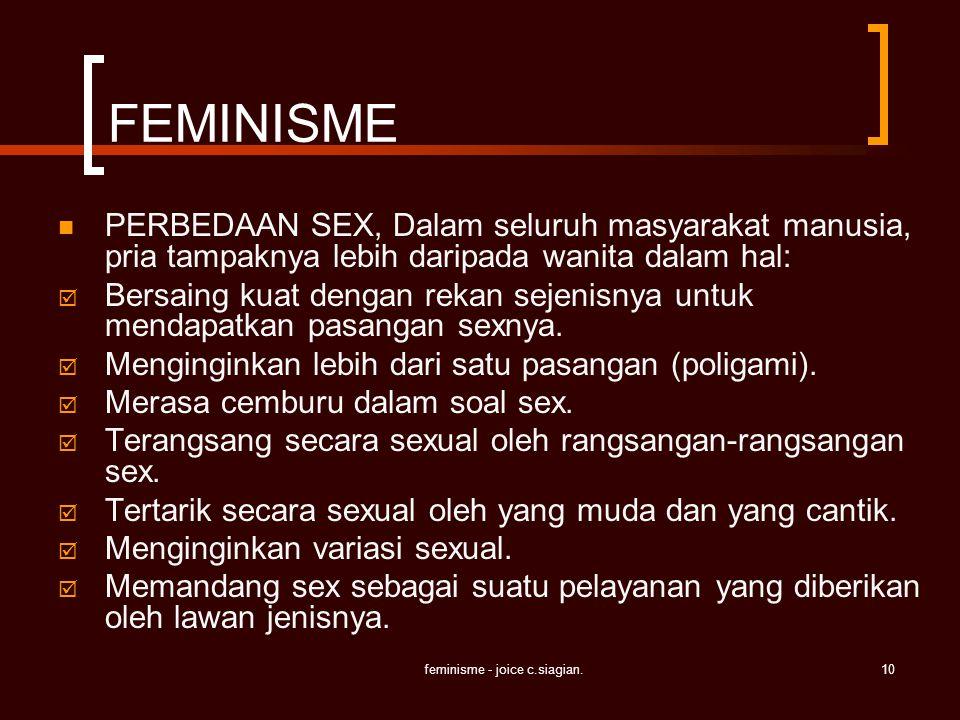 feminisme - joice c.siagian.10 FEMINISME PERBEDAAN SEX, Dalam seluruh masyarakat manusia, pria tampaknya lebih daripada wanita dalam hal:  Bersaing k