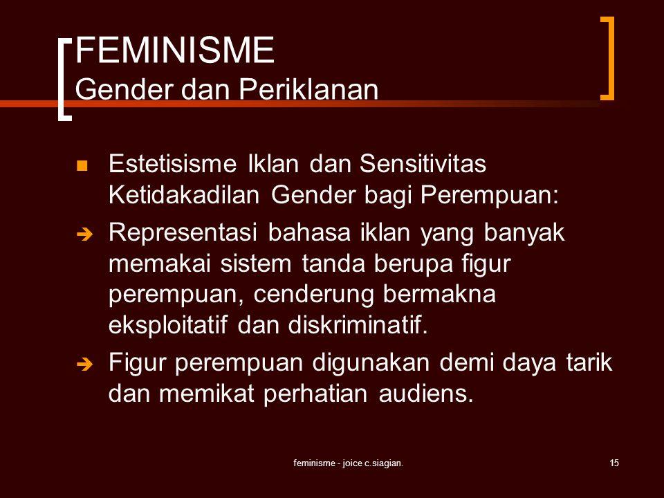 feminisme - joice c.siagian.15 FEMINISME Gender dan Periklanan Estetisisme Iklan dan Sensitivitas Ketidakadilan Gender bagi Perempuan:  Representasi