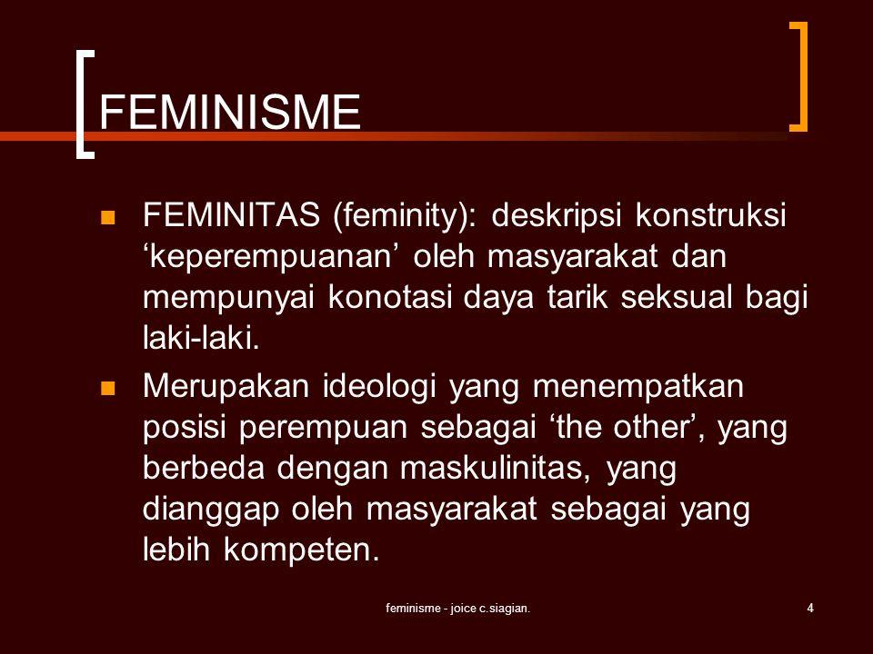 feminisme - joice c.siagian.4 FEMINISME FEMINITAS (feminity): deskripsi konstruksi 'keperempuanan' oleh masyarakat dan mempunyai konotasi daya tarik s