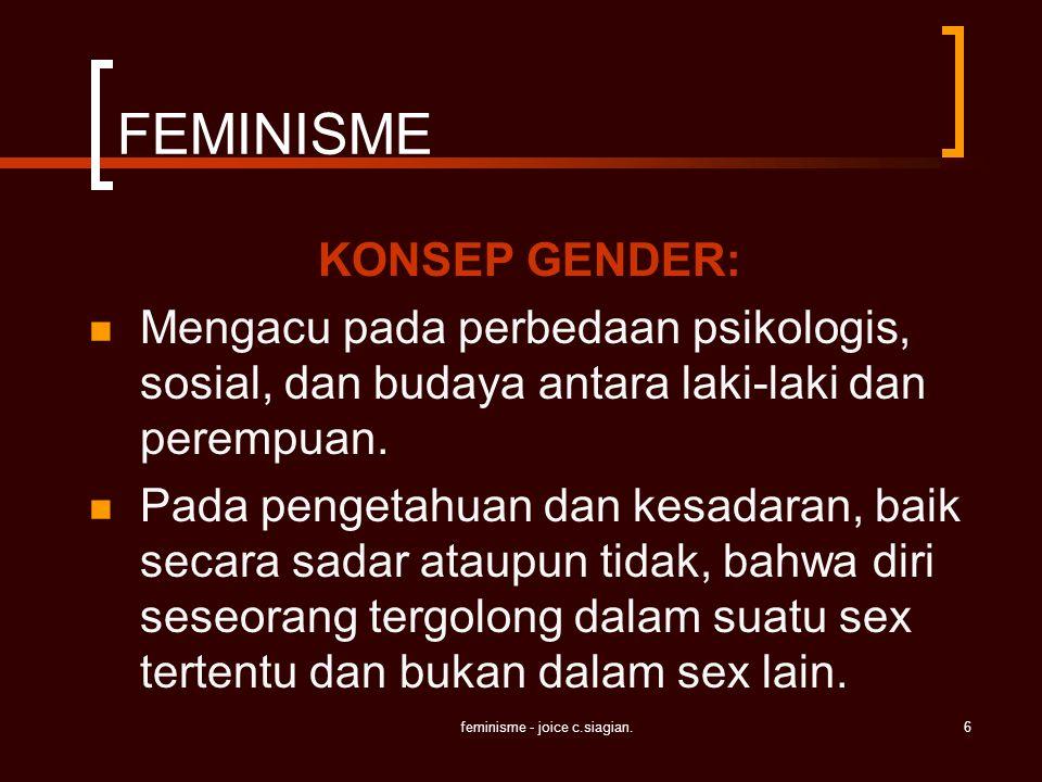 feminisme - joice c.siagian.6 FEMINISME KONSEP GENDER: Mengacu pada perbedaan psikologis, sosial, dan budaya antara laki-laki dan perempuan. Pada peng