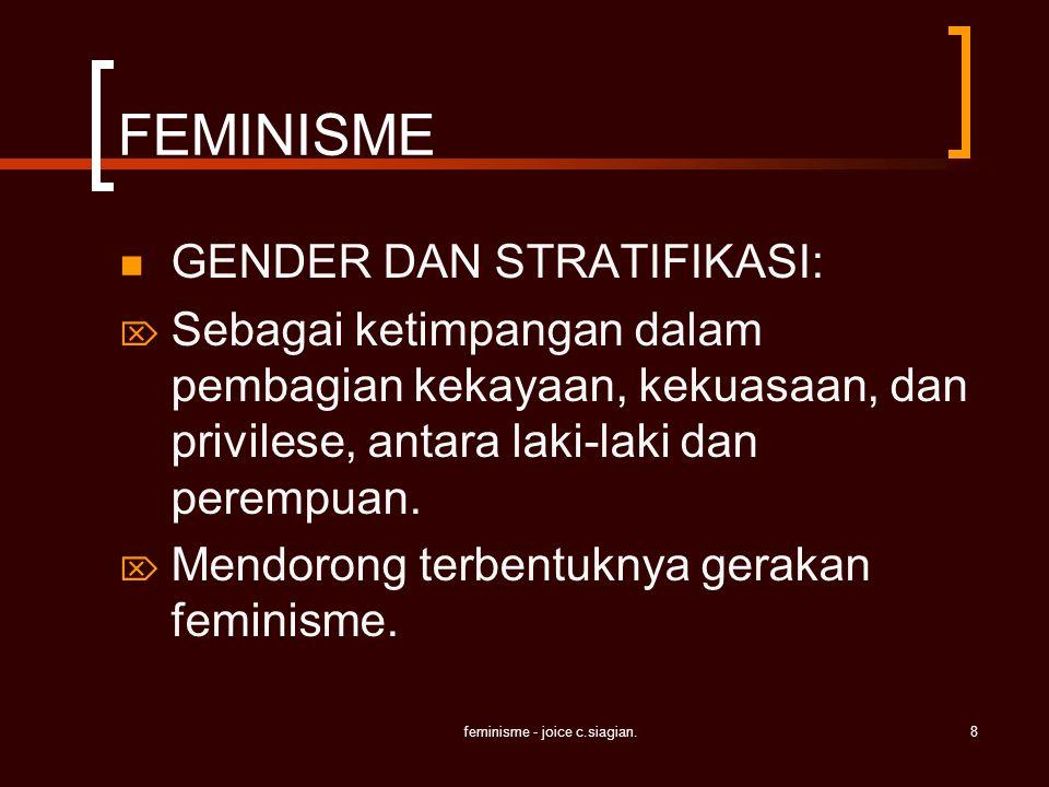 feminisme - joice c.siagian.8 FEMINISME GENDER DAN STRATIFIKASI:  Sebagai ketimpangan dalam pembagian kekayaan, kekuasaan, dan privilese, antara laki