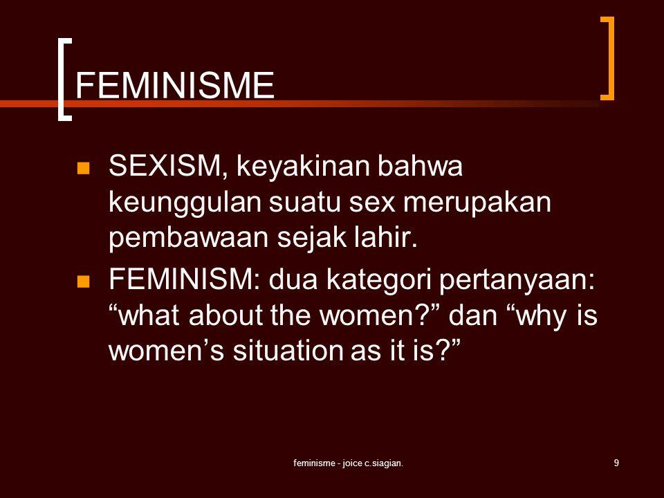 feminisme - joice c.siagian.9 FEMINISME SEXISM, keyakinan bahwa keunggulan suatu sex merupakan pembawaan sejak lahir. FEMINISM: dua kategori pertanyaa