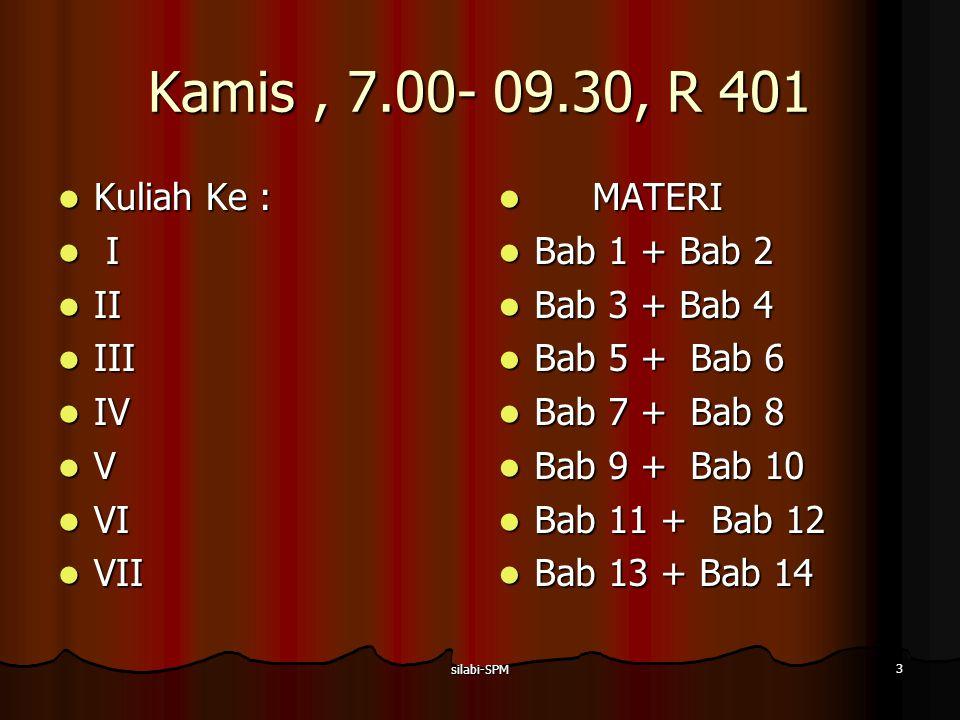 silabi-SPM 3 Kamis, 7.00- 09.30, R 401 Kuliah Ke : Kuliah Ke : I I II II III III IV IV V VI VI VII VII MATERI MATERI Bab 1 + Bab 2 Bab 1 + Bab 2 Bab 3