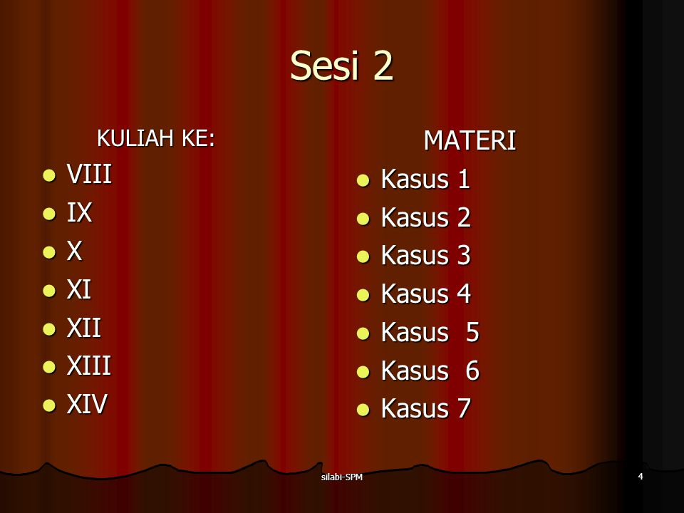 silabi-SPM 4 Sesi 2 KULIAH KE: VIII VIII IX IX X XI XI XII XII XIII XIII XIV XIVMATERI Kasus 1 Kasus 1 Kasus 2 Kasus 2 Kasus 3 Kasus 3 Kasus 4 Kasus 4