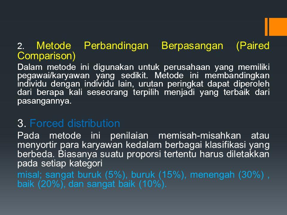 2. Metode Perbandingan Berpasangan (Paired Comparison) Dalam metode ini digunakan untuk perusahaan yang memiliki pegawai/karyawan yang sedikit. Metode