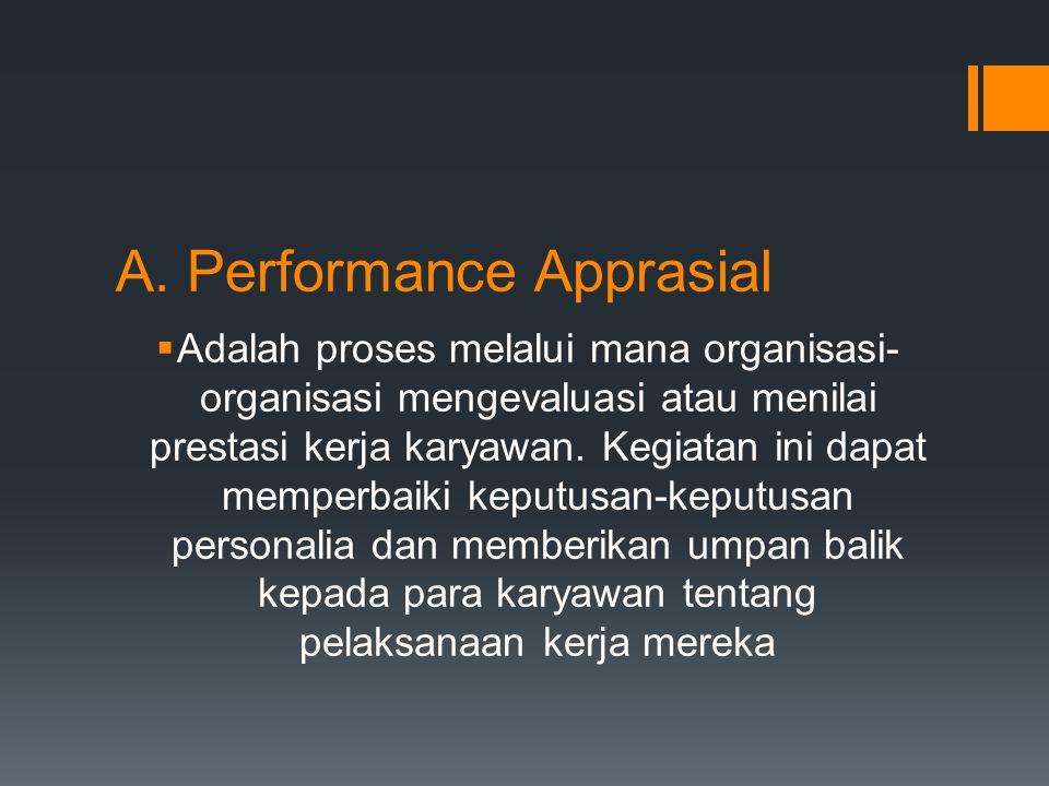 A. Performance Apprasial  Adalah proses melalui mana organisasi- organisasi mengevaluasi atau menilai prestasi kerja karyawan. Kegiatan ini dapat mem