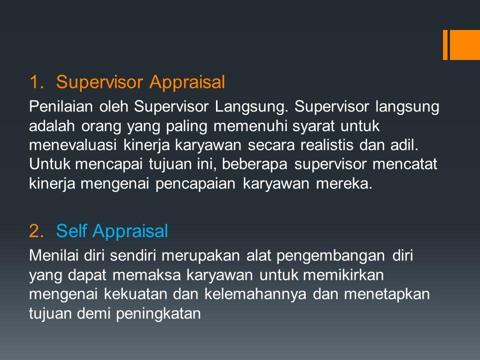 1.Supervisor Appraisal Penilaian oleh Supervisor Langsung. Supervisor langsung adalah orang yang paling memenuhi syarat untuk menevaluasi kinerja kary
