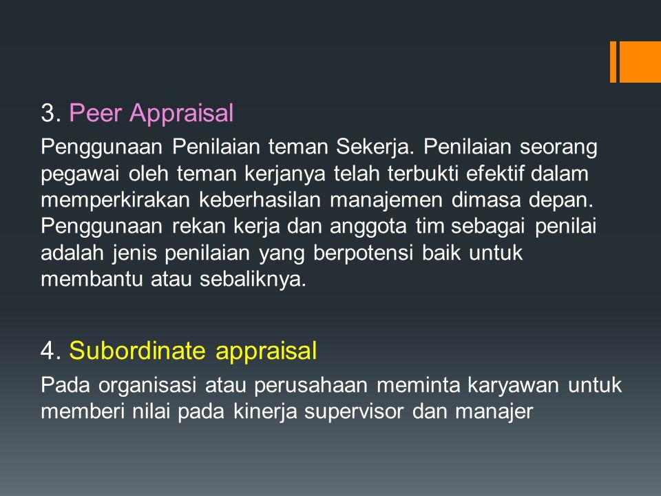 3. Peer Appraisal Penggunaan Penilaian teman Sekerja. Penilaian seorang pegawai oleh teman kerjanya telah terbukti efektif dalam memperkirakan keberha