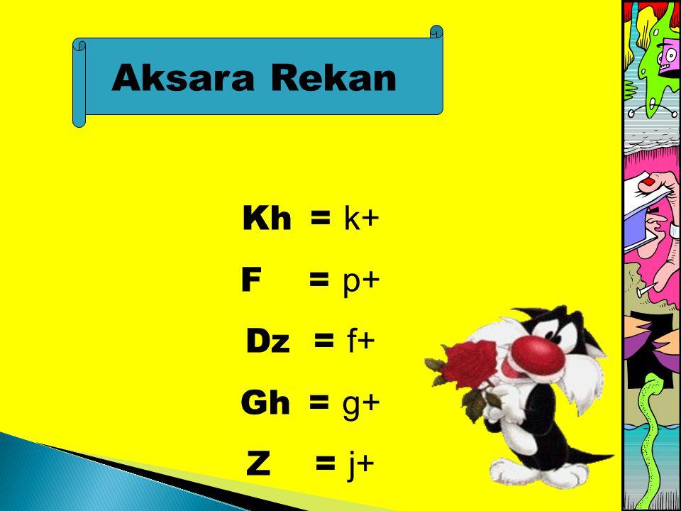 Aksara Rekan Kh= k+ F = p+ Dz = f+ Gh = g+ Z = j+