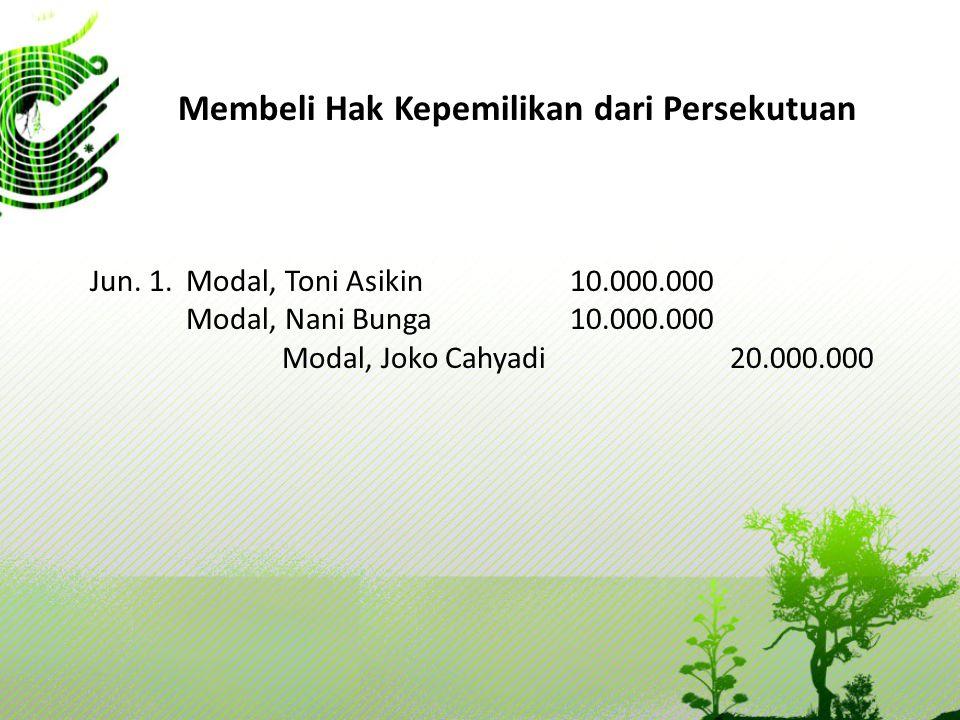 Membeli Hak Kepemilikan dari Persekutuan Jun. 1. Modal, Toni Asikin10.000.000 Modal, Nani Bunga10.000.000 Modal, Joko Cahyadi 20.000.000