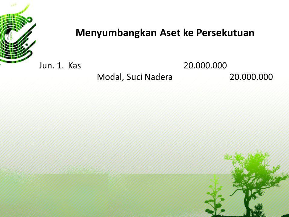 Menyumbangkan Aset ke Persekutuan Jun. 1. Kas20.000.000 Modal, Suci Nadera 20.000.000