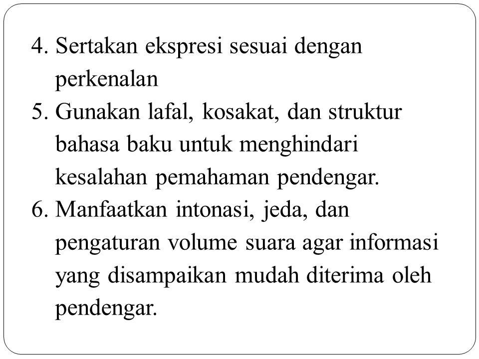 4.Sertakan ekspresi sesuai dengan perkenalan 5.