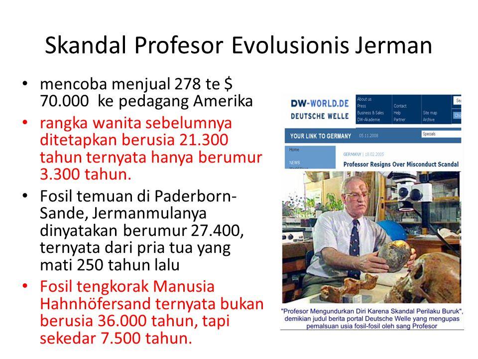 Skandal Profesor Evolusionis Jerman mencoba menjual 278 te $ 70.000 ke pedagang Amerika rangka wanita sebelumnya ditetapkan berusia 21.300 tahun ternyata hanya berumur 3.300 tahun.