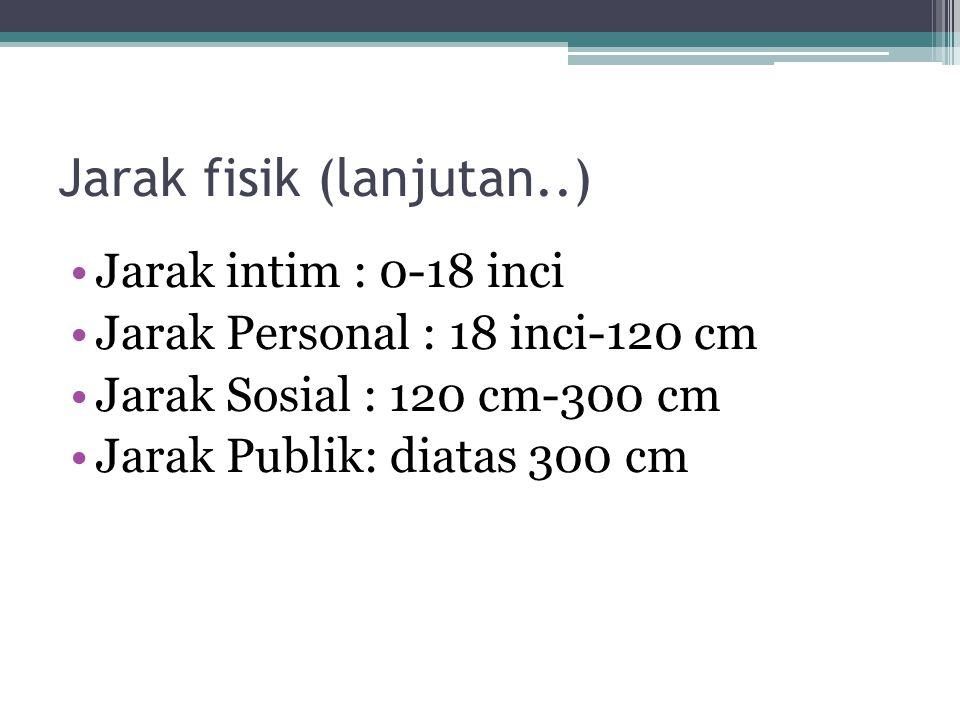 Jarak fisik (lanjutan..) Jarak intim : 0-18 inci Jarak Personal : 18 inci-120 cm Jarak Sosial : 120 cm-300 cm Jarak Publik: diatas 300 cm