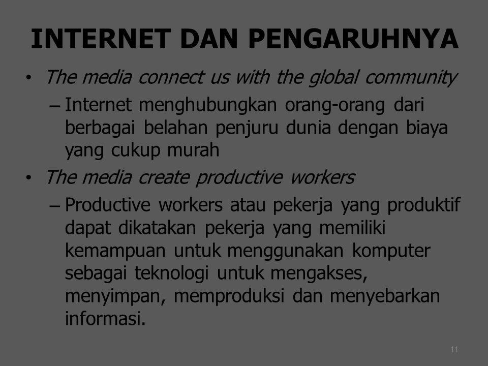 11 INTERNET DAN PENGARUHNYA The media connect us with the global community – Internet menghubungkan orang-orang dari berbagai belahan penjuru dunia de