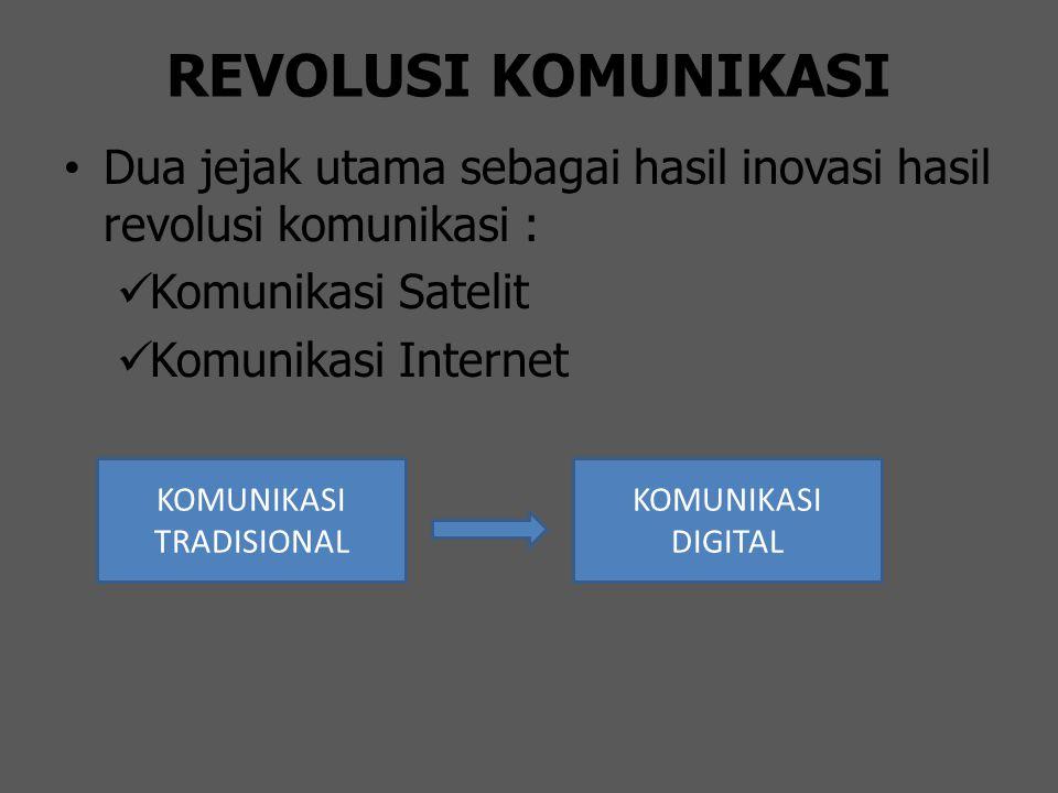 REVOLUSI KOMUNIKASI Dua jejak utama sebagai hasil inovasi hasil revolusi komunikasi : Komunikasi Satelit Komunikasi Internet KOMUNIKASI TRADISIONAL KO