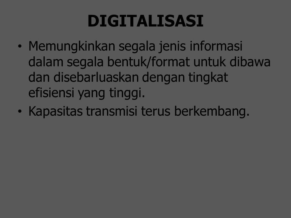 DIGITALISASI Memungkinkan segala jenis informasi dalam segala bentuk/format untuk dibawa dan disebarluaskan dengan tingkat efisiensi yang tinggi. Kapa
