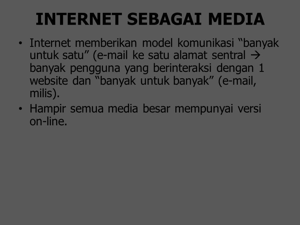 "INTERNET SEBAGAI MEDIA Internet memberikan model komunikasi ""banyak untuk satu"" (e-mail ke satu alamat sentral  banyak pengguna yang berinteraksi den"