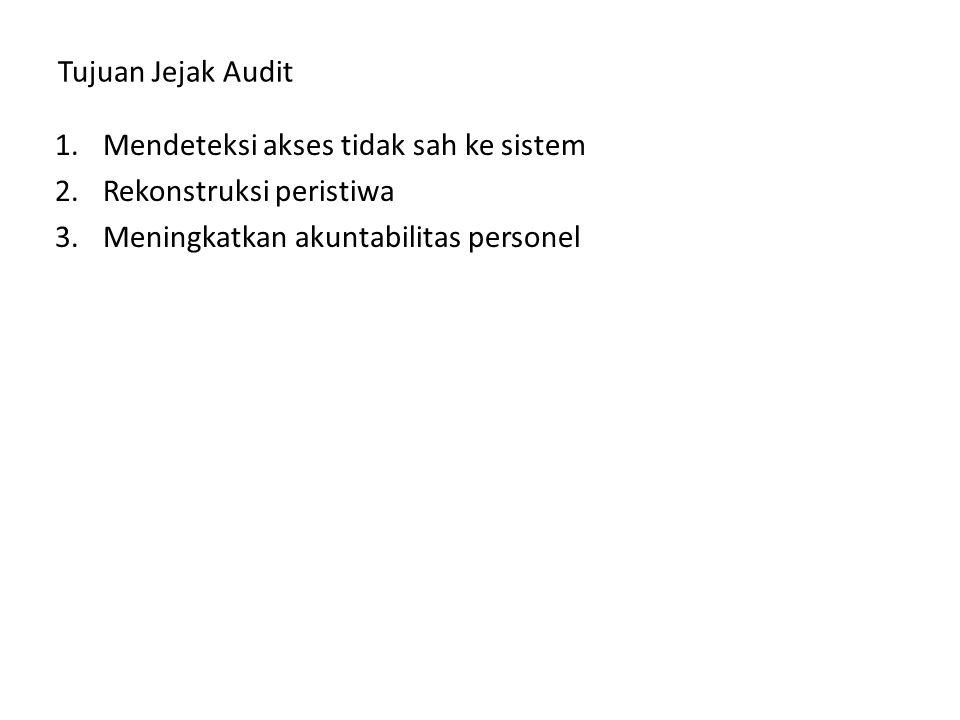 Tujuan Jejak Audit 1.Mendeteksi akses tidak sah ke sistem 2.Rekonstruksi peristiwa 3.Meningkatkan akuntabilitas personel