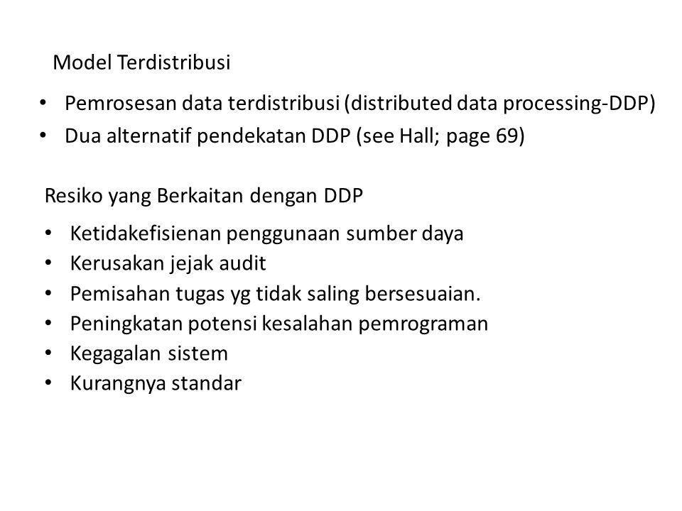 Resiko yang Berkaitan dengan DDP Pemrosesan data terdistribusi (distributed data processing-DDP) Dua alternatif pendekatan DDP (see Hall; page 69) Mod