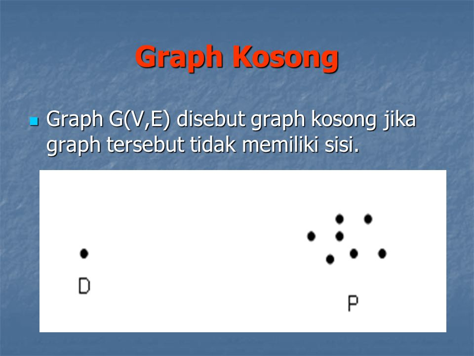 Graph G(V,E) disebut graph kosong jika graph tersebut tidak memiliki sisi. Graph G(V,E) disebut graph kosong jika graph tersebut tidak memiliki sisi.