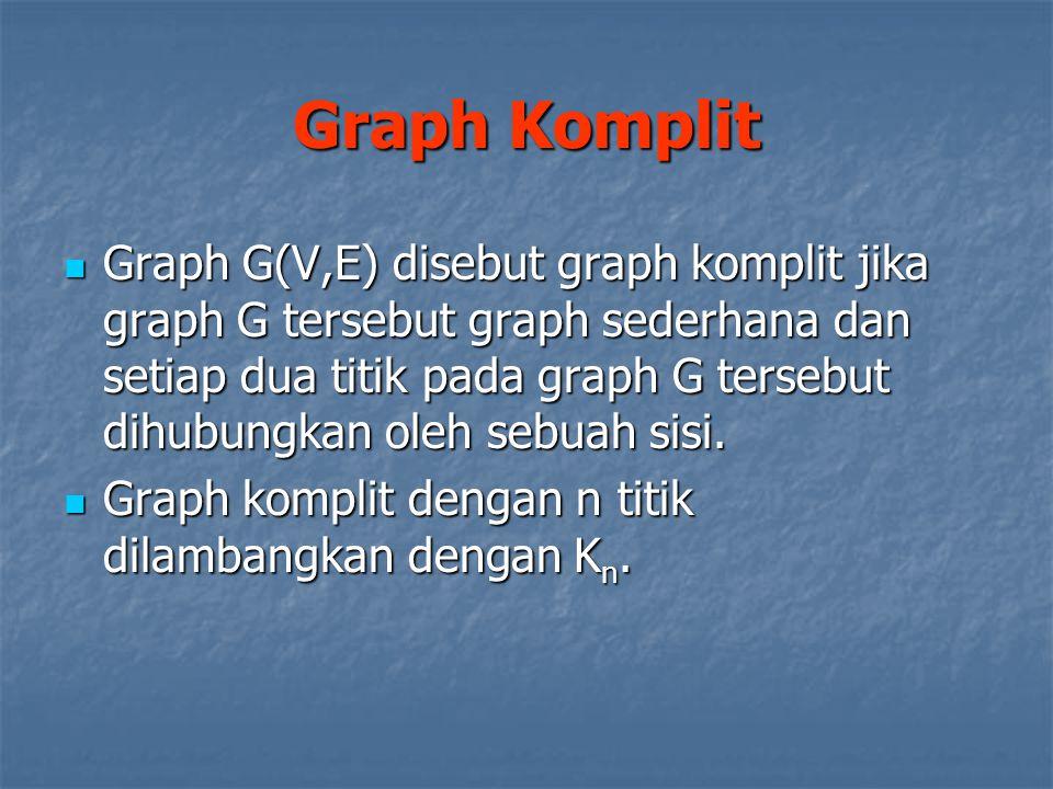 Graph G(V,E) disebut graph komplit jika graph G tersebut graph sederhana dan setiap dua titik pada graph G tersebut dihubungkan oleh sebuah sisi. Grap