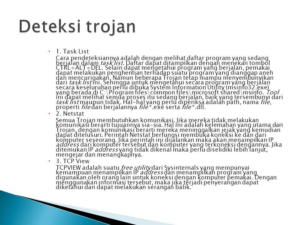  1. Task List Cara pendeteksiannya adalah dengan melihat daftar program yang sedang berjalan dalam task list. Daftar dapat ditampilkan dengan menekan