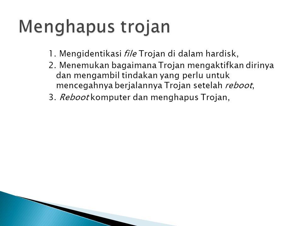 1. Mengidentikasi file Trojan di dalam hardisk, 2.