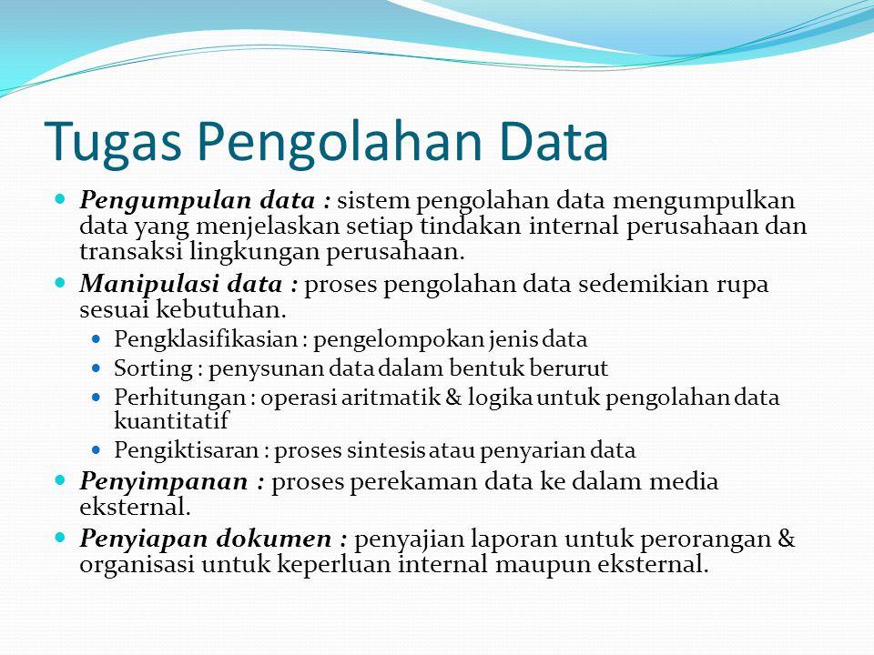 Tugas Pengolahan Data Pengumpulan data : sistem pengolahan data mengumpulkan data yang menjelaskan setiap tindakan internal perusahaan dan transaksi lingkungan perusahaan.