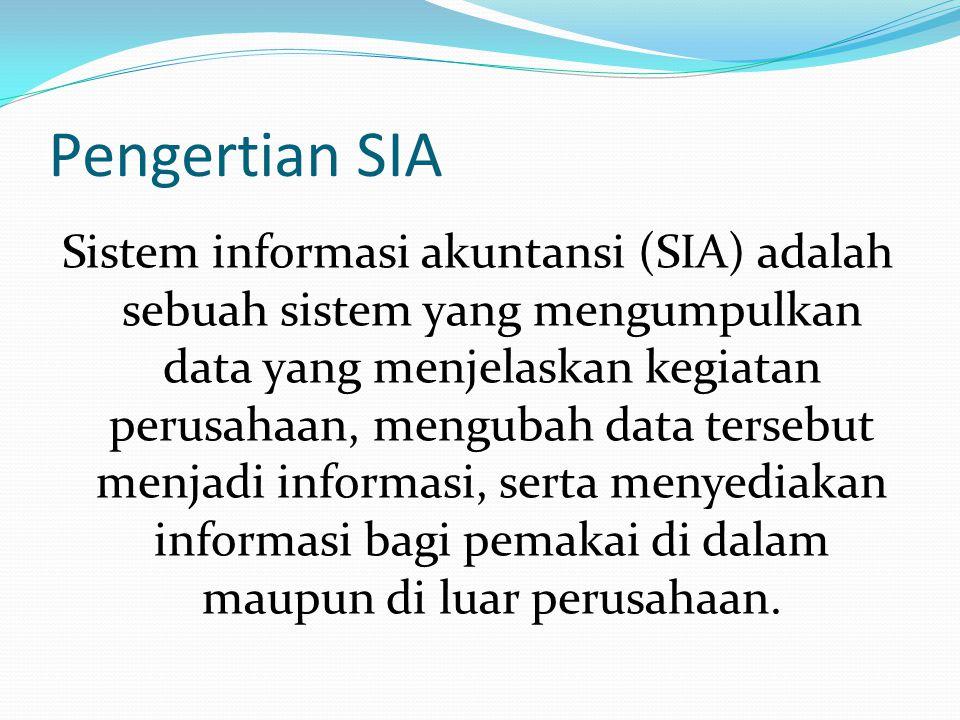 Pengertian SIA Sistem informasi akuntansi (SIA) adalah sebuah sistem yang mengumpulkan data yang menjelaskan kegiatan perusahaan, mengubah data tersebut menjadi informasi, serta menyediakan informasi bagi pemakai di dalam maupun di luar perusahaan.