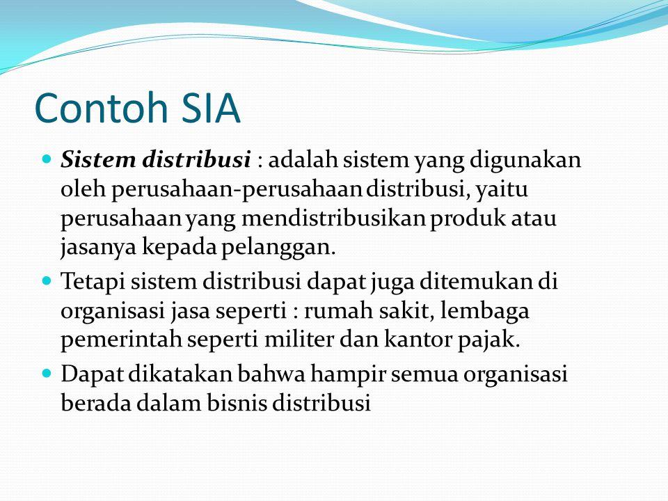 Contoh SIA Sistem distribusi : adalah sistem yang digunakan oleh perusahaan-perusahaan distribusi, yaitu perusahaan yang mendistribusikan produk atau jasanya kepada pelanggan.