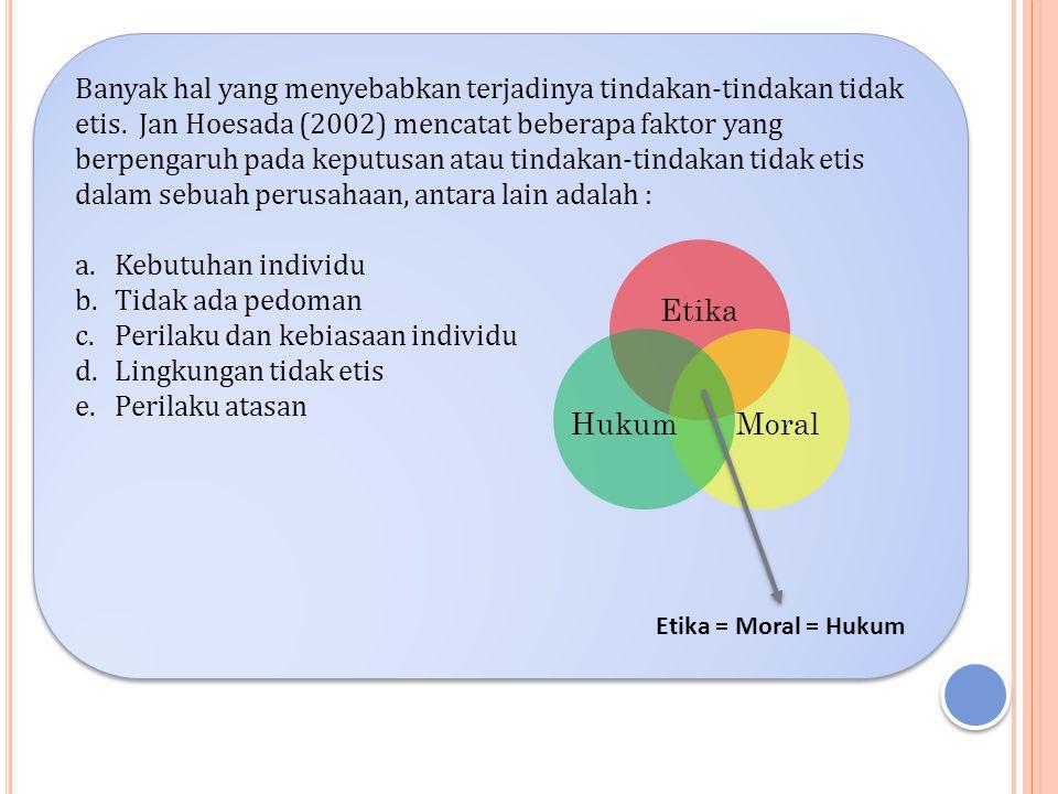 Banyak hal yang menyebabkan terjadinya tindakan-tindakan tidak etis. Jan Hoesada (2002) mencatat beberapa faktor yang berpengaruh pada keputusan atau