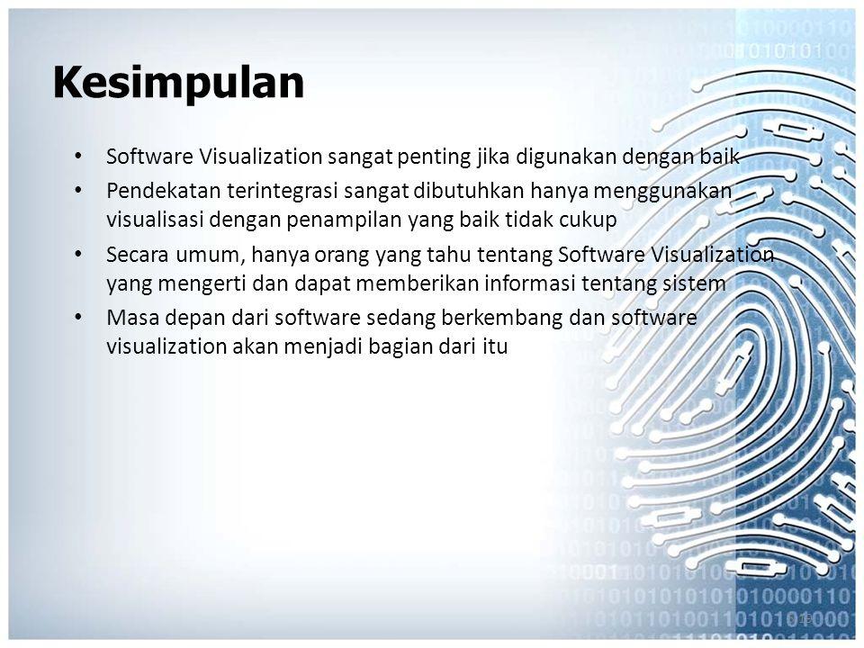 5.19 Kesimpulan Software Visualization sangat penting jika digunakan dengan baik Pendekatan terintegrasi sangat dibutuhkan hanya menggunakan visualisasi dengan penampilan yang baik tidak cukup Secara umum, hanya orang yang tahu tentang Software Visualization yang mengerti dan dapat memberikan informasi tentang sistem Masa depan dari software sedang berkembang dan software visualization akan menjadi bagian dari itu