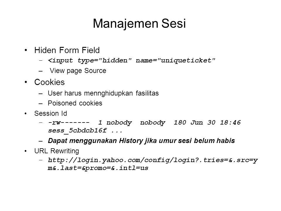 Manajemen Sesi Hiden Form Field –<input type=