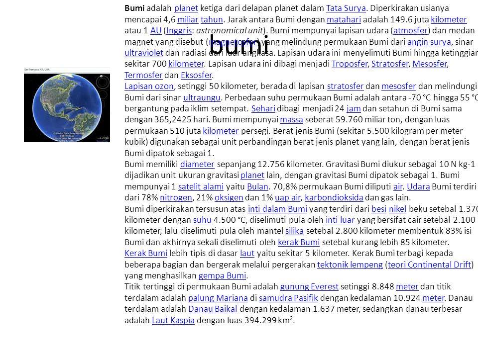 bumi Bumi adalah planet ketiga dari delapan planet dalam Tata Surya.