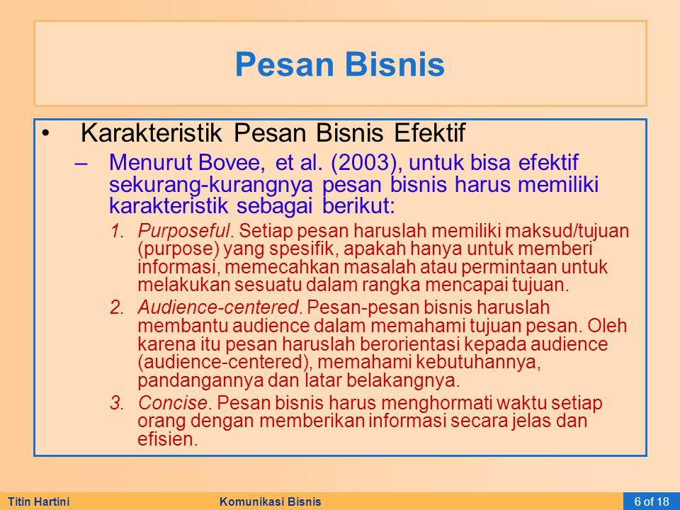 Titin Hartini Komunikasi Bisnis7 of 18 Pesan Bisnis Tahapan Proses Penulisan Pesan-pesan Bisnis –Perencanaan.