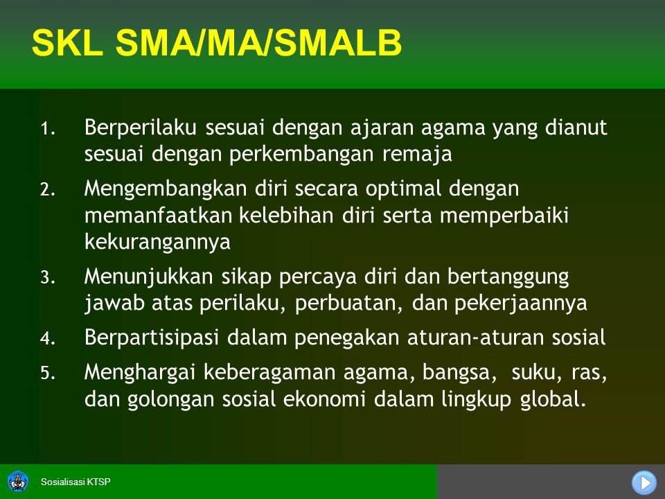 Sosialisasi KTSP SKL SMA/MA/SMALB 1. 1.