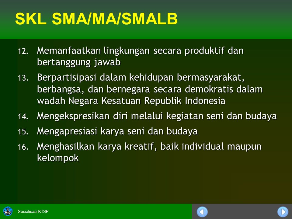 Sosialisasi KTSP SKL SMA/MA/SMALB 12.