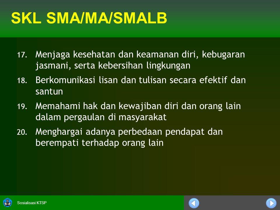 Sosialisasi KTSP SKL SMA/MA/SMALB 17.
