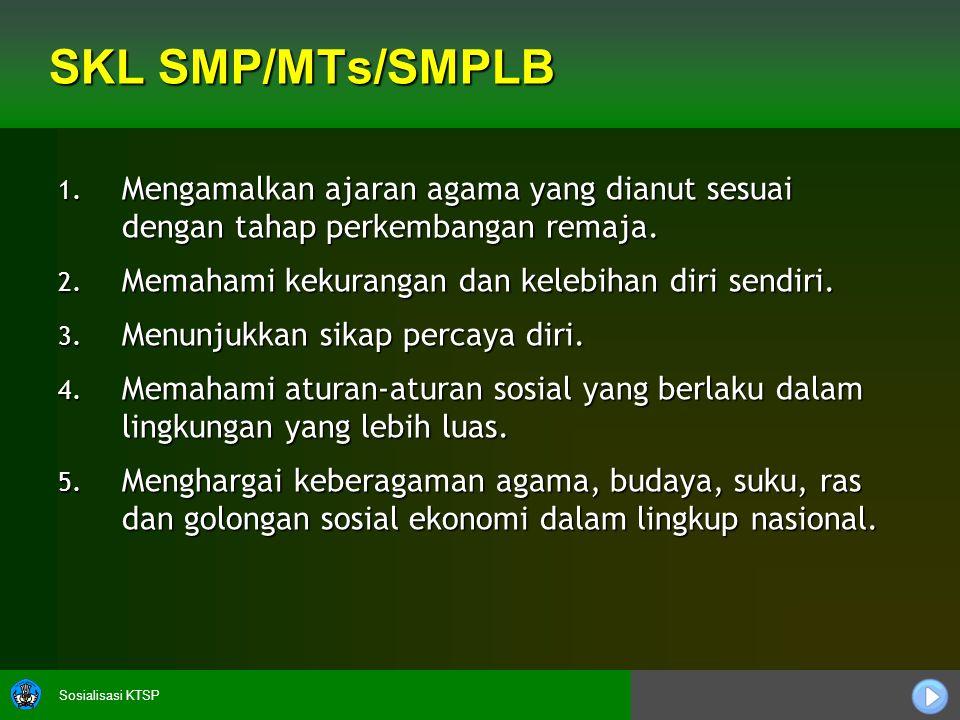 Sosialisasi KTSP SKL SMP/MTs/SMPLB 1.