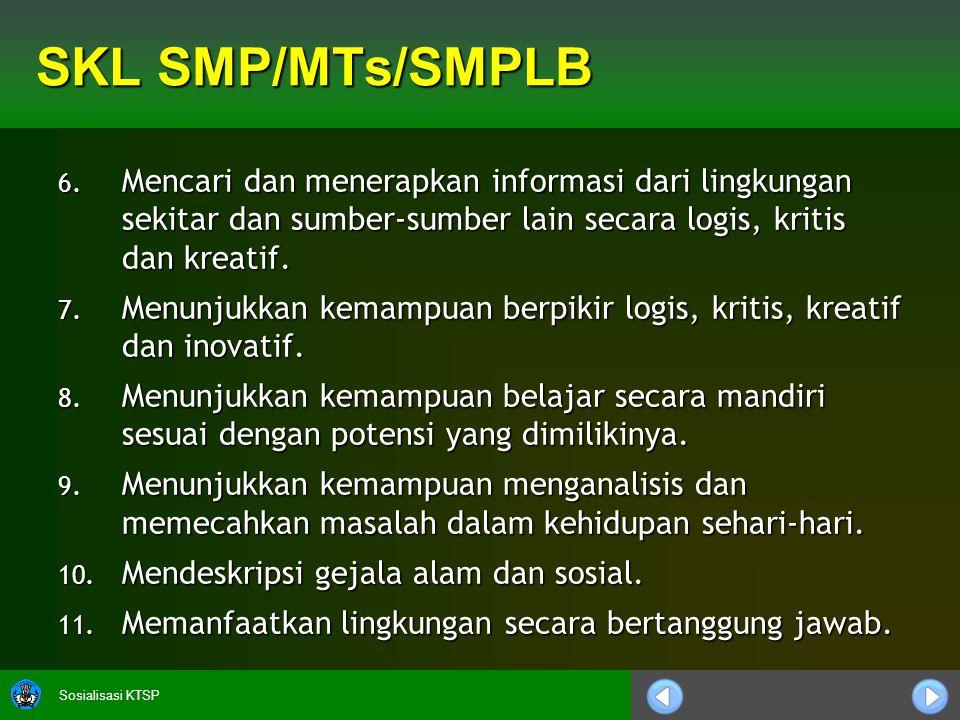 Sosialisasi KTSP SKL SMP/MTs/SMPLB 6.