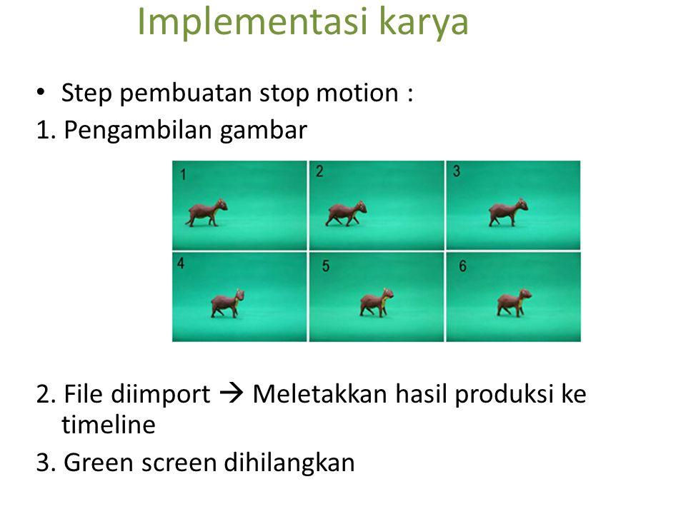 Implementasi karya Step pembuatan stop motion : 1. Pengambilan gambar 2. File diimport  Meletakkan hasil produksi ke timeline 3. Green screen dihilan
