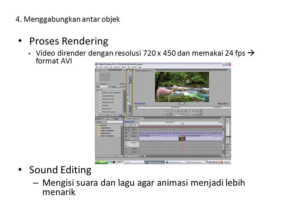 Proses Rendering Video dirender dengan resolusi 720 x 450 dan memakai 24 fps  format AVI Sound Editing – Mengisi suara dan lagu agar animasi menjadi