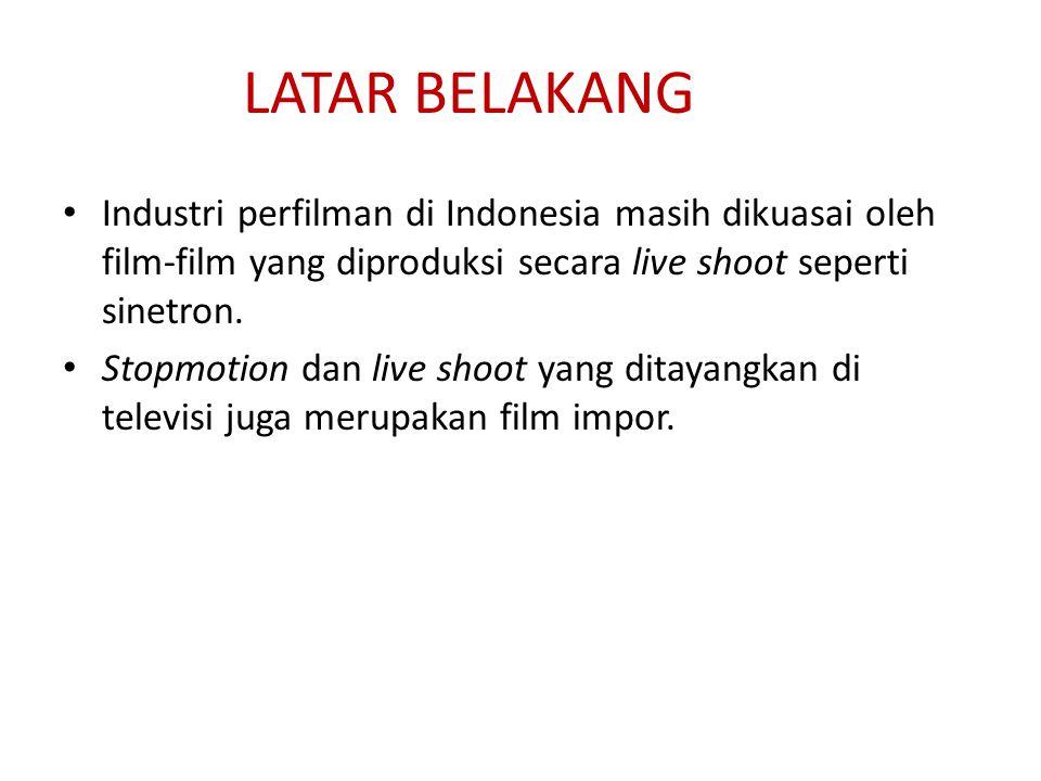LATAR BELAKANG Industri perfilman di Indonesia masih dikuasai oleh film-film yang diproduksi secara live shoot seperti sinetron. Stopmotion dan live s