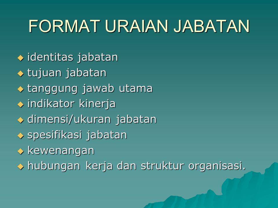 FORMAT URAIAN JABATAN  identitas jabatan  tujuan jabatan  tanggung jawab utama  indikator kinerja  dimensi/ukuran jabatan  spesifikasi jabatan 