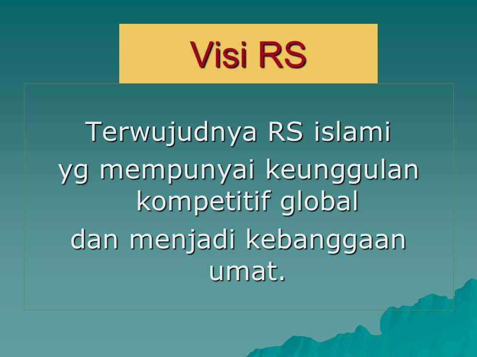 Visi RS Terwujudnya RS islami yg mempunyai keunggulan kompetitif global dan menjadi kebanggaan umat.