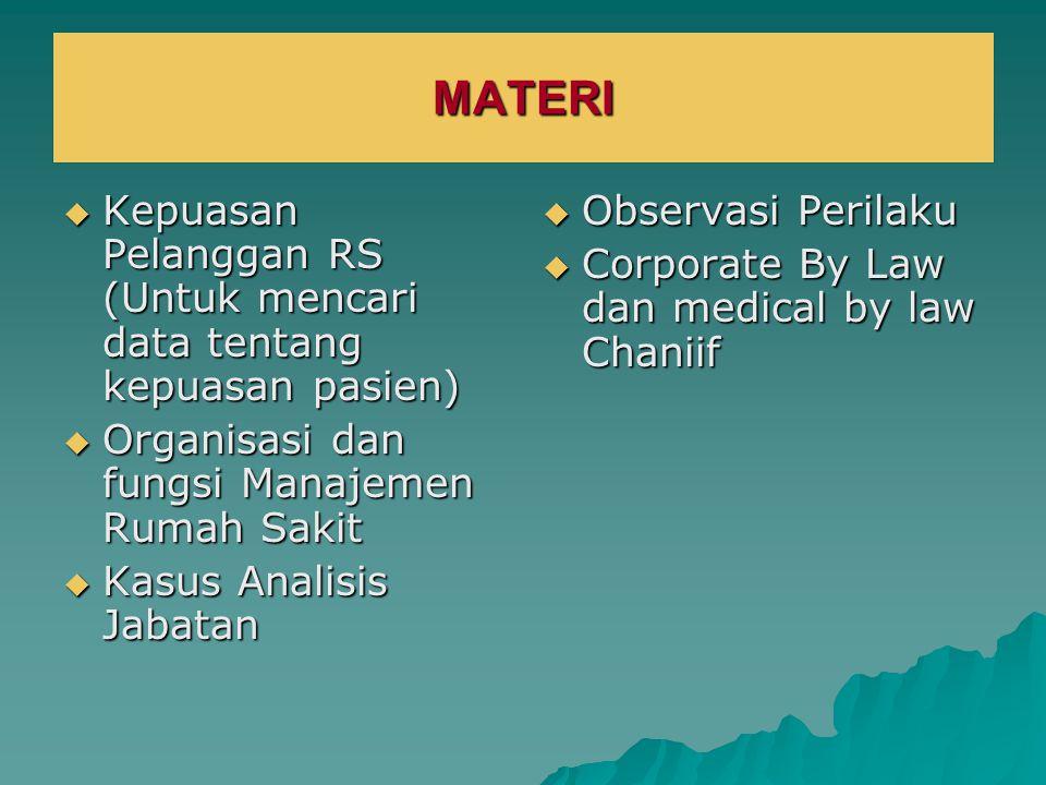 MATERI  Kepuasan Pelanggan RS (Untuk mencari data tentang kepuasan pasien)  Organisasi dan fungsi Manajemen Rumah Sakit  Kasus Analisis Jabatan  O