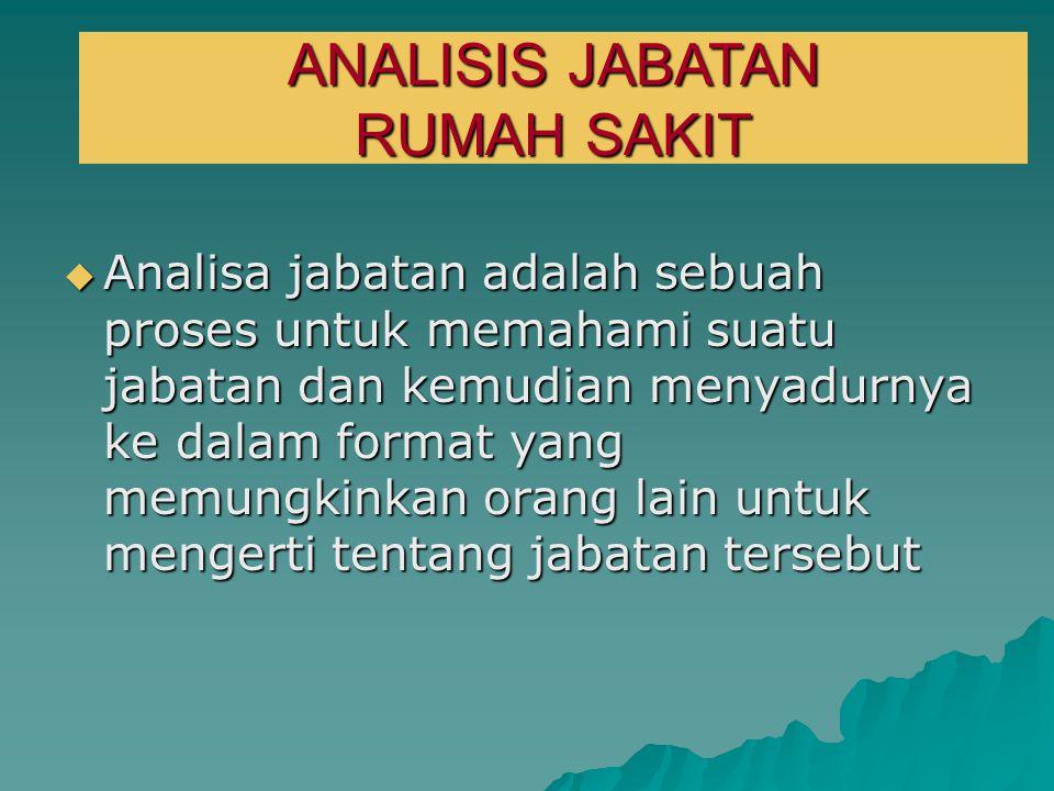 ANALISIS JABATAN  Analisa jabatan adalah sebuah proses untuk memahami suatu jabatan dan kemudian menyadurnya ke dalam format yang memungkinkan orang