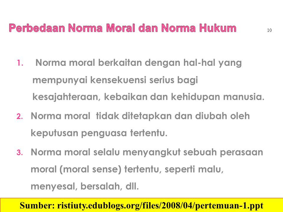 1. Norma moral berkaitan dengan hal-hal yang mempunyai kensekuensi serius bagi kesajahteraan, kebaikan dan kehidupan manusia. 2. Norma moral tidak dit