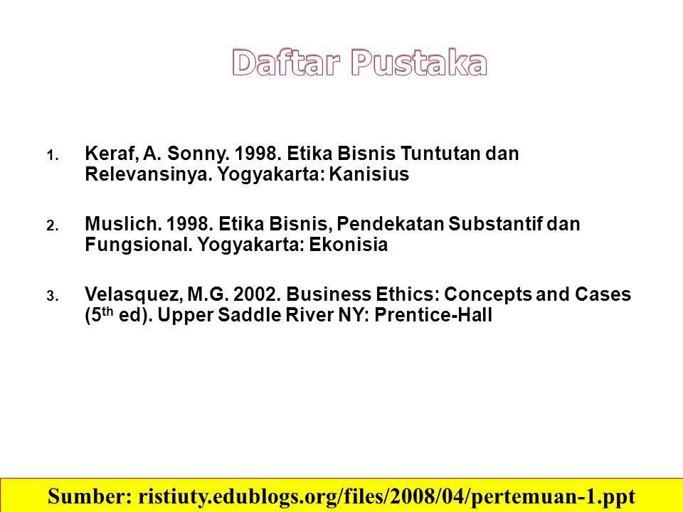 1. Keraf, A. Sonny. 1998. Etika Bisnis Tuntutan dan Relevansinya. Yogyakarta: Kanisius 2. Muslich. 1998. Etika Bisnis, Pendekatan Substantif dan Fungs